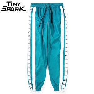 Image 4 - Pantalon large à rayures latérales Jogger hommes Harajuku pantalons de survêtement mode pantalon décontracté Hip Hop pantalon Streetwear piste 2018 été automne