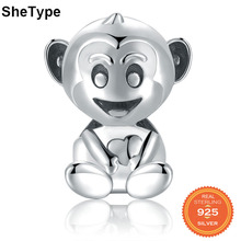 SheType 925 Sterling Silver Monkey Beads Charms 925  Original Fit Bracelet Silver Beads Jewelry Necklace Making geoki 925 sterling silver treasure lock charms fit original pandora bracelet lucky pendant necklace beads jewelry making women