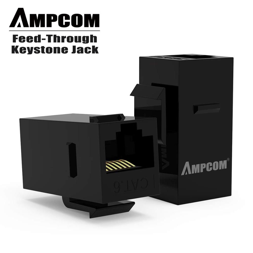 CAT5E/ CAT6 RJ45 Inline Coupler Keystone Jack,AMPCOM RJ45 Cat.6 Straight-Through Keystone Module Adapter Couplers For Wall Plate