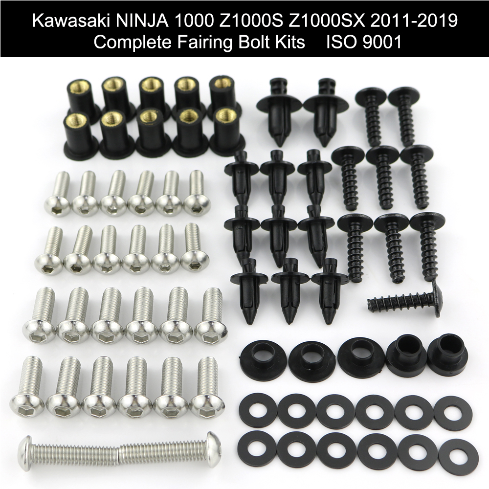 For Kawasaki Ninja 1000 Z1000S Z1000SX 2011-2019 Complete Full Fairing Bolts Kit Clips Nuts Covering Bolts Screw Stainless Steel