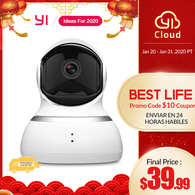 YI Dome Camera 1080P Pan/Tilt/Zoom Wireless IP Security Surveillance System Complete 360 Degree Coverage Night Vision White