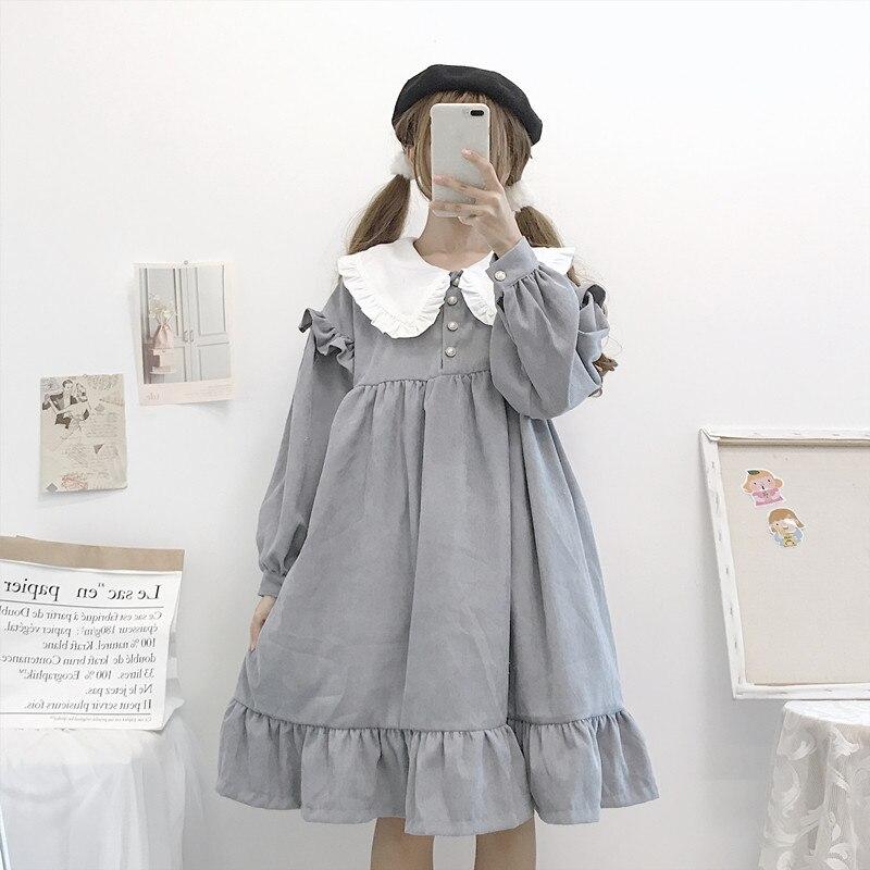 Japanes Lolita Mori girl classical Black and White Retro Ruffle long dress