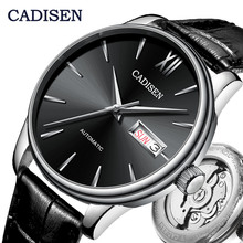 CADISEN Automatic Watch Men Mechanical Genuine Leather