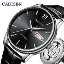CADISEN reloj automático de cuero genuino para hombre, mecánico, marca de lujo, NH36A, reloj de pulsera, Masculino