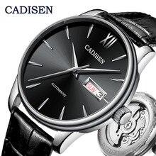 Cadisen relógio de pulso mecânico automático, relógios de couro genuíno, top, de luxo, relógio japonês nh36a