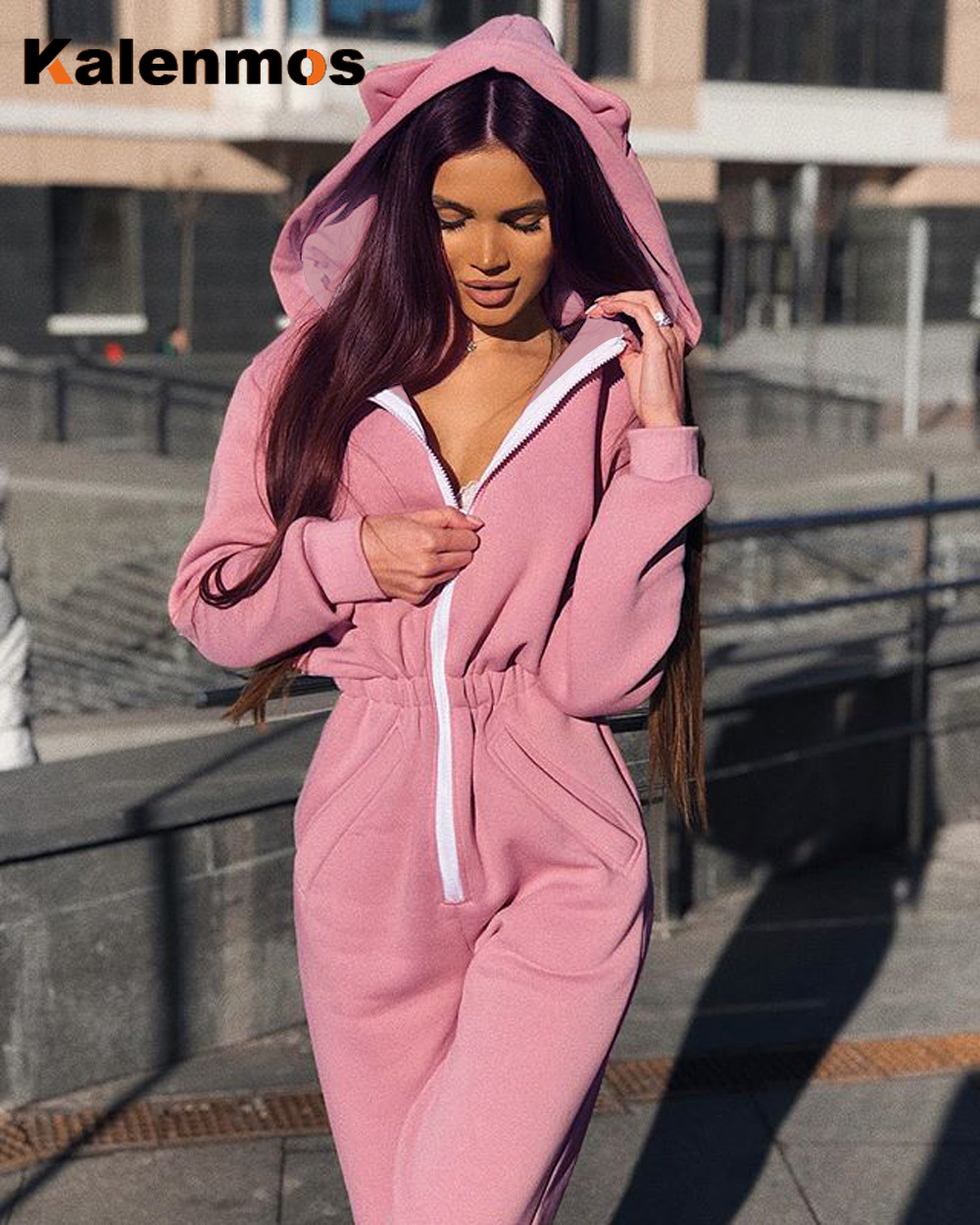 Rompers Sexy Jumpsuit Women Tracksuit 2020 Spring Hooded Cat Ear Pink Black Zipper Pocket Sweatshirt Slim Casual Cute Plus Size