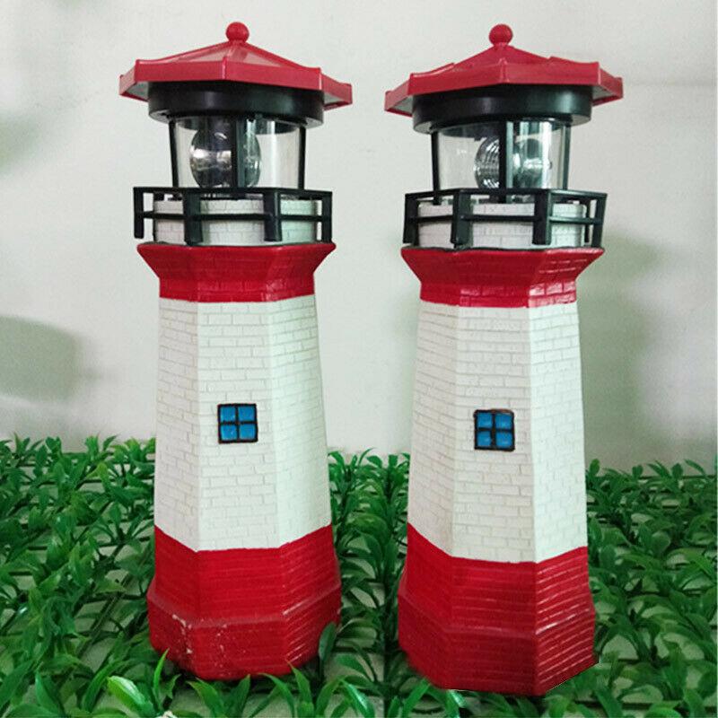 Creative LED Solar Lighthouse Lawn Light Rotating Garden Yard Outdoor Lighting Decor