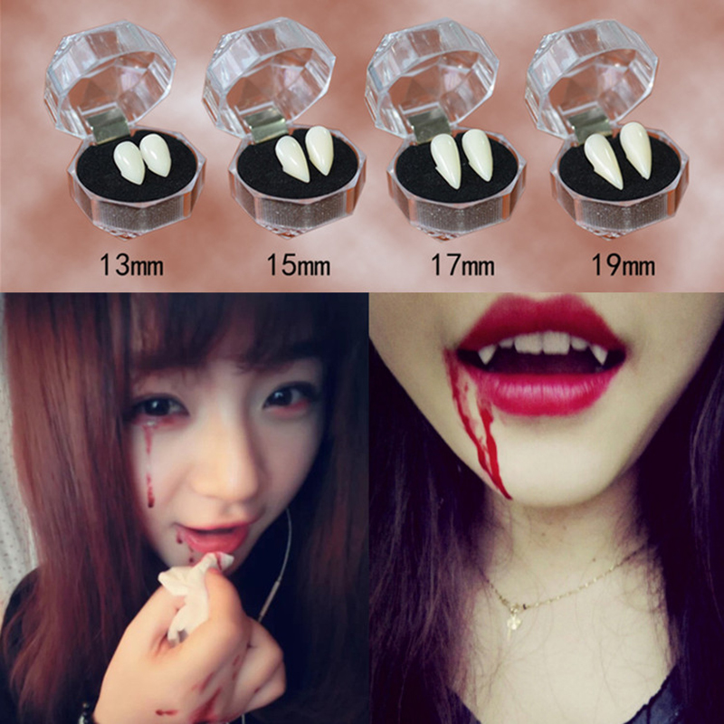 1 Pair 4 Size Horrific Vampire Teeth Fangs Dentures Props Halloween Costume Props Party Favors Holiday DIY Tooth Decorations