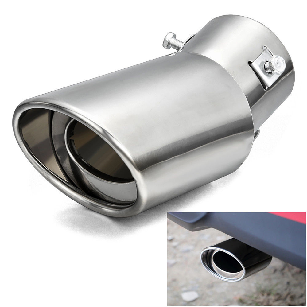 Universal Car Exhaust Muffler Tip Round Stainless Steel Pipe Chrome Exhaust Tail Muffler Tip Pipe Silver