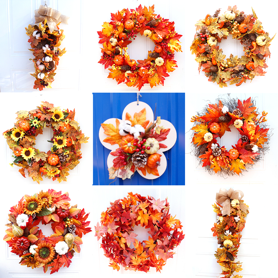 Silk Autumn Wreath Christmas Decoration Thanksgiving Rattan Material Garland Window Restaurant Home Decoration Fall Wreath Door-0