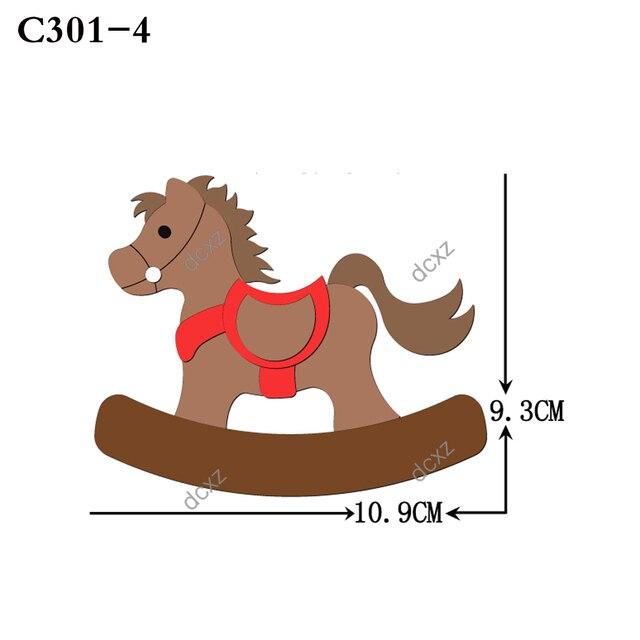 Nuovo cavallo di Legno die Scrapbooking C 301 4 Fustelle Compatibile con la maggior parte dei morire macchine da taglio