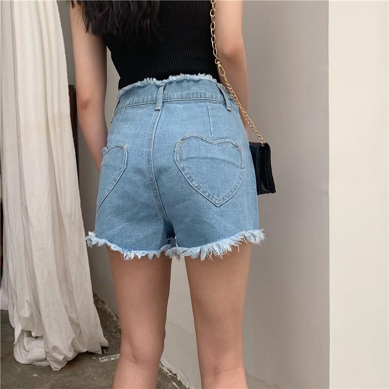 New Summer Vintage Love Heart Pocket Women Shorts Harajuku Kawaii Denim High Waist Shorts Mujer Casual Tassels Shorts Jeans