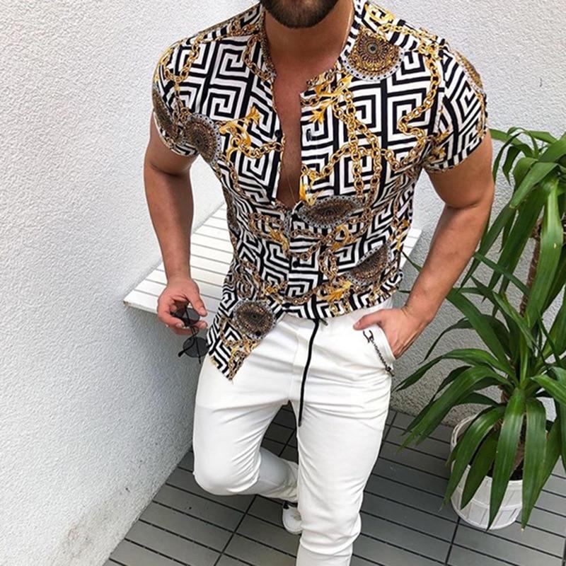 Summer Man Shirt 2020 Mens Ethnic Printed Stand Collar Stripe Short Sleeve Loose Hawaiian Henley Shirt hawaiian Shirt 1