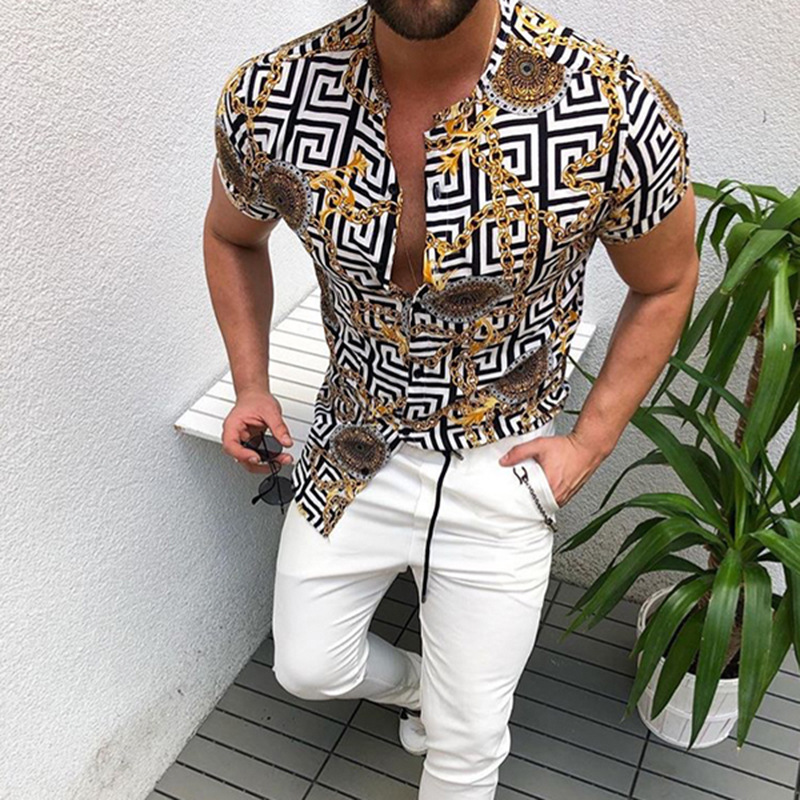Summer Man Shirt Mens Ethnic Printed Stand Collar Stripe Short Sleeve Loose Hawaiian Henley Shirt Hawaiian Shirt