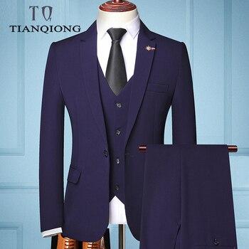 Juego de 3 piezas de traje de marca de moda para hombre, chaquetas de negocios casuales, pantalones, chaleco, chaqueta, chaqueta, chaleco, boda