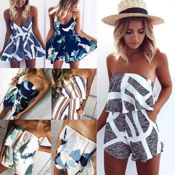цена на New Casual Women Summer Slim Jumpsuit Bohomian Beach Romper Fashion Leaf Print Halter Leaf Rompers Sexy Off Shoulder Jumpsuits
