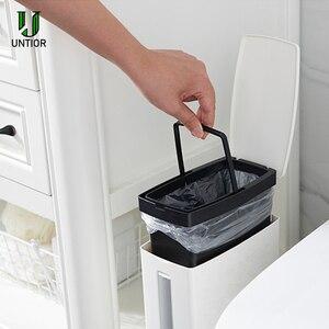 Image 2 - UNTIOR Multi function Trash Can Plastic Waste Bin with Toilet Brush Garbage Bucket Dustbin Kitchen Bathroom Cleaning Trash Bin