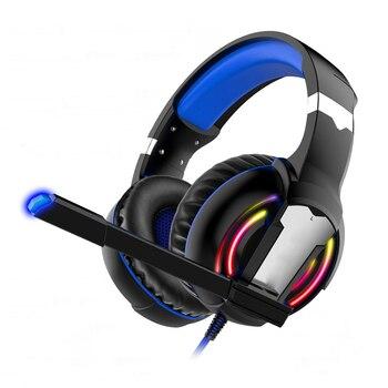 Auriculares con micrófono para videojuegos y luz Surround, auriculares de graves para PS4, jugadores profesionales, PC y ordenador portátil
