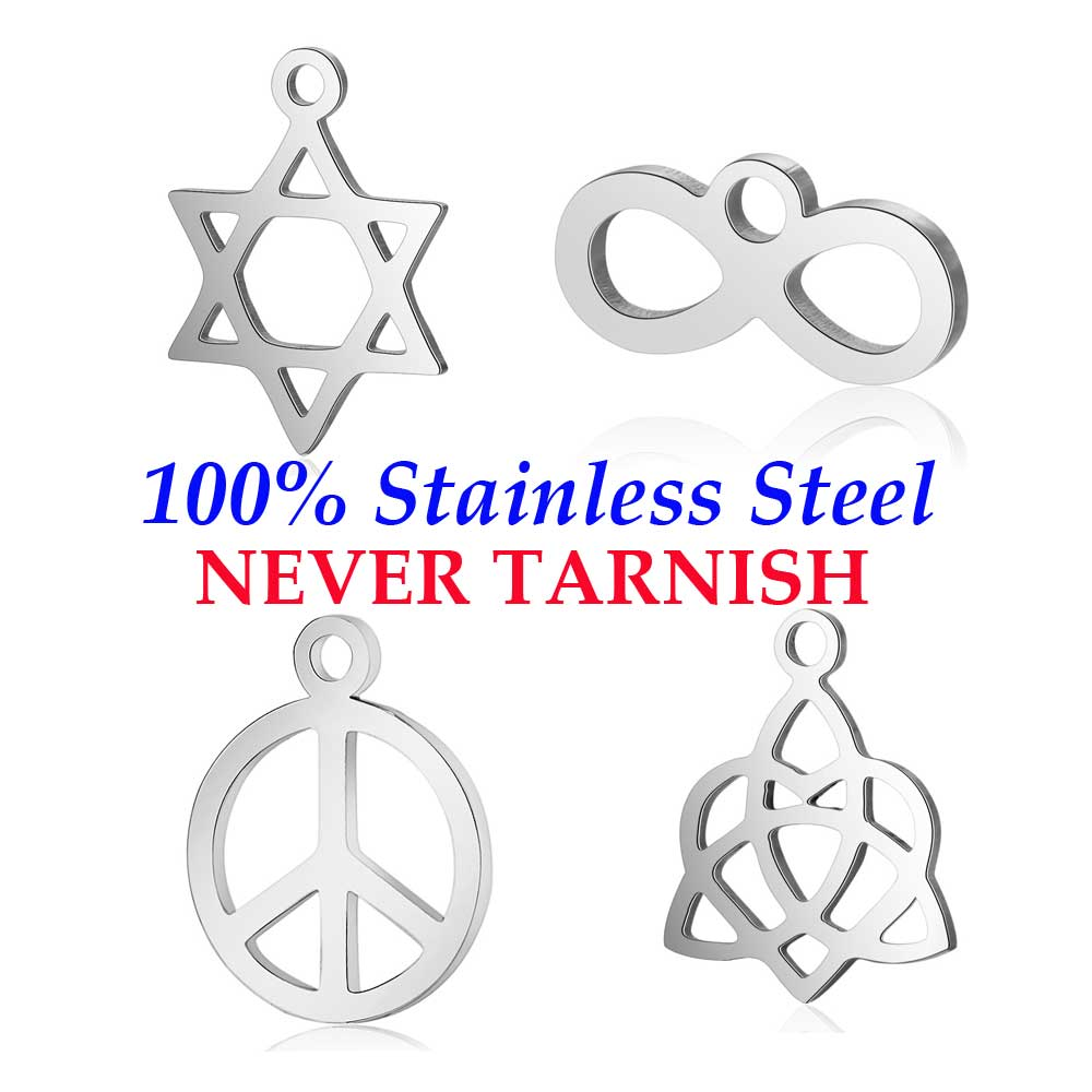 10 Pieces Peace David Star Infinity Love Charm Wholesale 100% Stainless Steel DIY Jewelry Charms High Polished