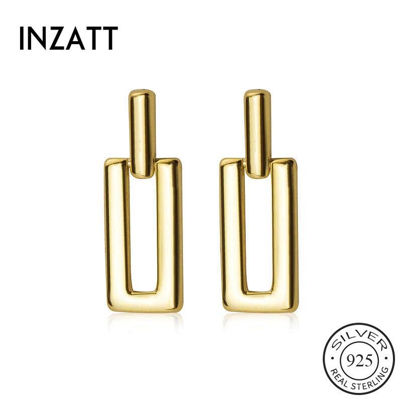 INZATT Real 925 Sterling Silver Geometric Stud Earrings For Fashion Women Party Minimalist Fine Jewelry Cute Accessories