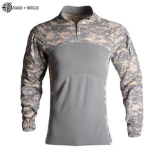 HAN WILDMilitary Shirt Camouflage Army Tactical Battle Combat Shirt Men Women USMC Softair Camisa Militar Special Forces Costume