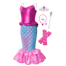 AmzBarley Little Mermaid Costume Girls Princess Ariel Dress UP Halloween Christmas Cos party Outfits Toddler sleeveless dress