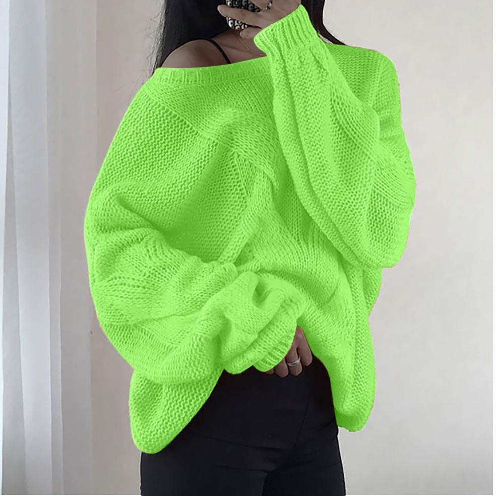 US $10.24 25% OFF Neon Green Knitting Sweater Casual Long Sleeve Solid Colors Sweaters Loose Sweater Fashion Women Clothing 2020 New Autumn