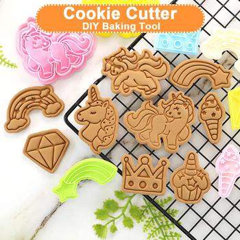 1 sztuk Cute Unicorn foremki do ciastek Cartoon foremka do ciasteczek ciasto dekorowanie pieczęć pieczenie w kuchni narzędzie tanie i dobre opinie Formy CN (pochodzenie) Ekologiczne Z tworzywa sztucznego