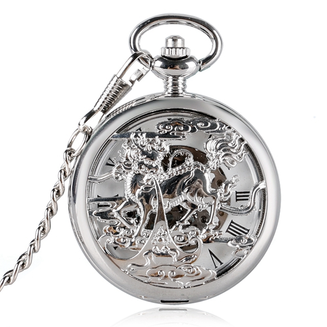 Trendy Pocket Watch Excellent Hollow-out Case Chinese Style Hand-winding Mechanical Neckalce Pendant Clock Relogio Montres