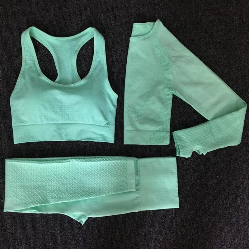 Yoga Sets Seamless Leggings Bra Long Sleeves Shirt Crop Top Women Running Gym Sportswear High Waist Fitness Sports Bra Pant Suit