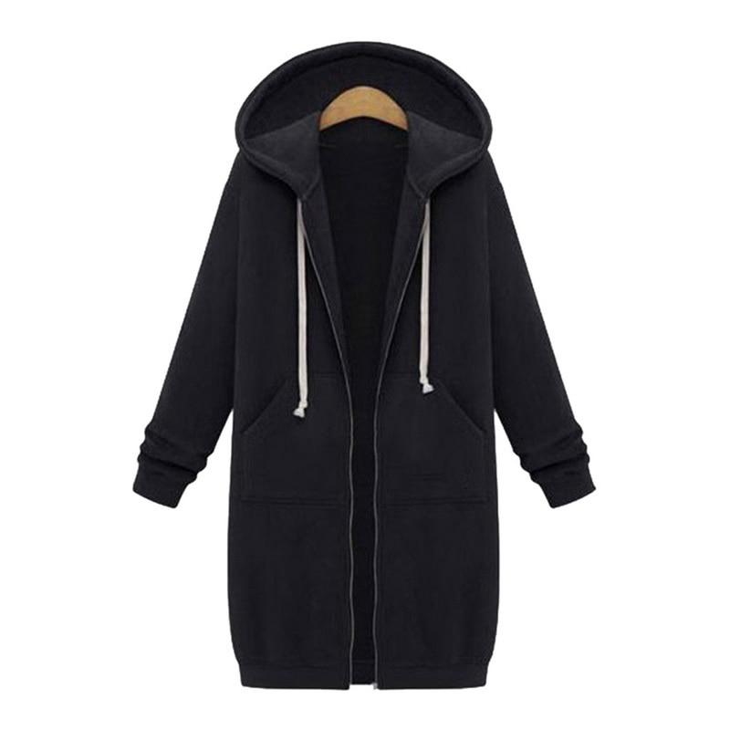 Women Jacket Long Coat Autumn 2020 Casual Plus Size Winter Hooded Jacket Female Sweater Ladies Cardigan S-5Xl Casual Plus Size