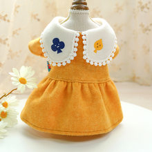 Lapel Collar Dog Clothes Pet Skirt Autumn Winter Warm Woollen Cloth Princess Dog Dress Poker Embroidery Cats Dresses For Dogs(China)