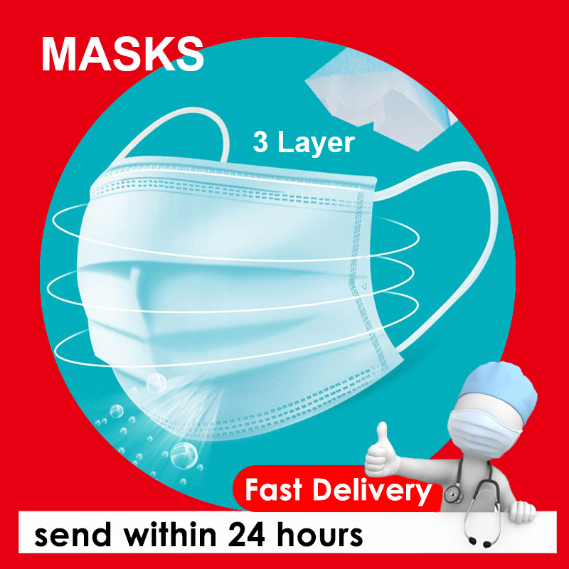 50 PCS Surgical Mask 3 Layer Face Mask Mascherine Anti Virus Mouth Filter Anti Virus Disposable Surgical Masks