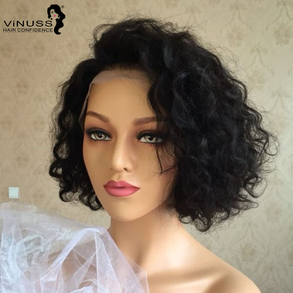 New Style Short Curly Bob Wig 13 6 Lace Front Human Hair Wigs Brazilian Remy Pre Plucked For Black Women Deep Parting 8 14 Human Hair Lace Wigs Aliexpress