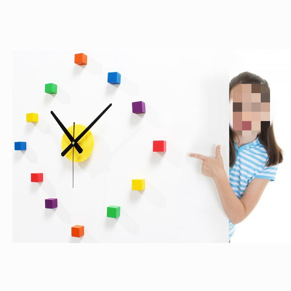 Wall Clock 3D Colorful Wood DIY Mute Wall Clock Stickerfor Bedroom Decor Sticker Wall Fun Combination Clock Removable Decal