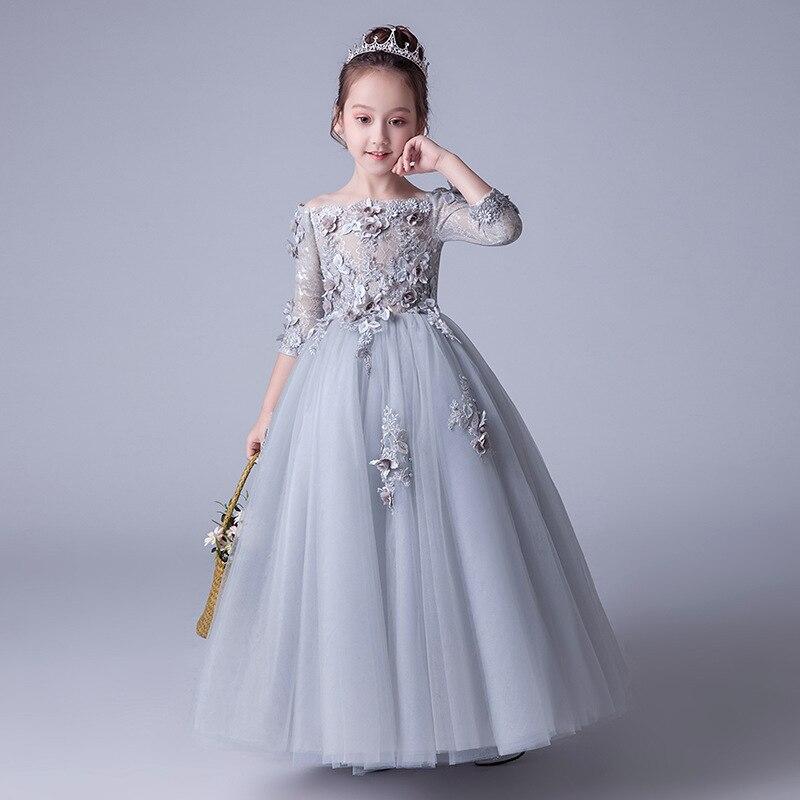 Girls Wedding Dress Princess Dress 2019 New Style Western Style Children Small Host Catwalks Piano Puffy Yarn Performance Clothi