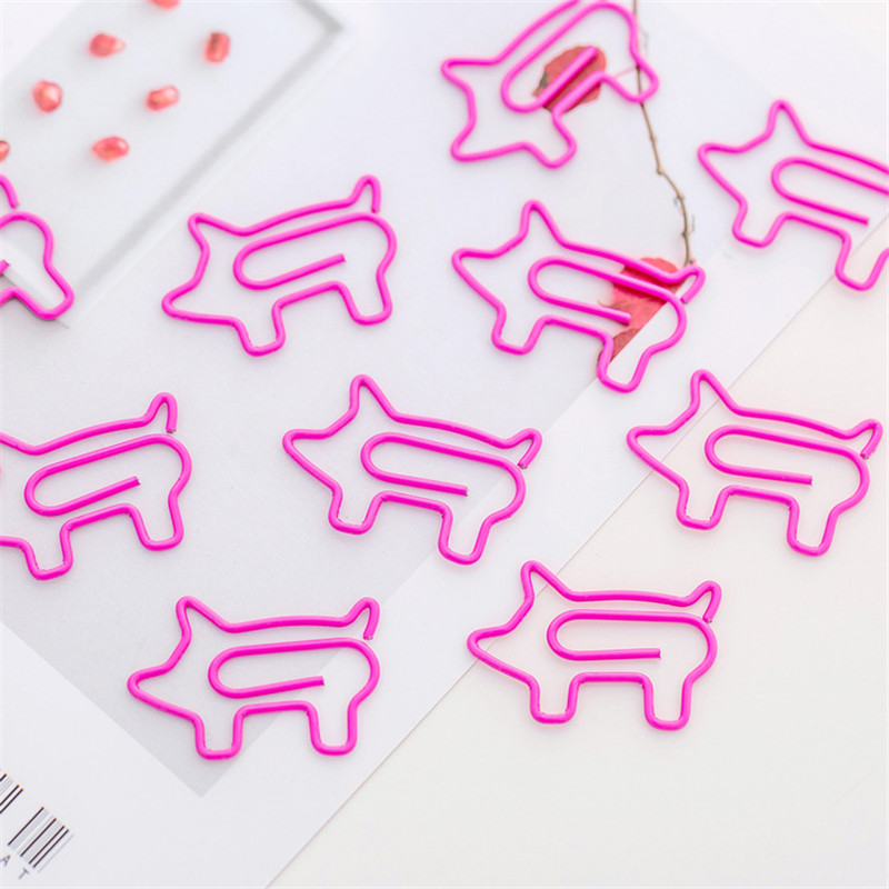 10pcs/lot Cute Pink Cartoon Pig Paper Clip Creative Special-shaped Modeling Clip Metal Office Accessories Metal Paperclips