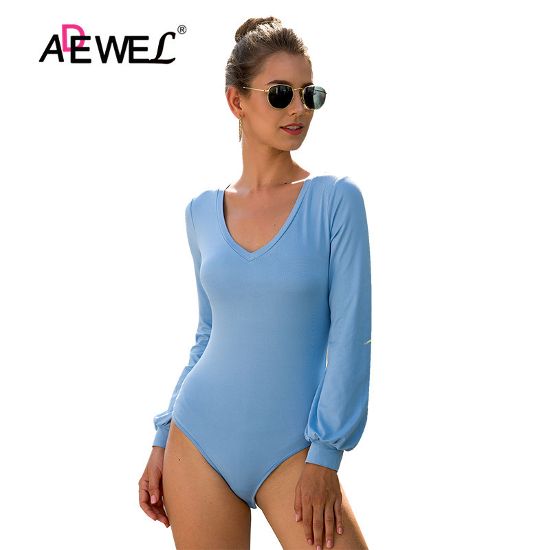ADEWEL  Women Blue Black Slim Casual Bodysuit Female 2019 Autumn Long Sleeve V-Neck Elegant Romper Streetwear Bodycon Playsuit