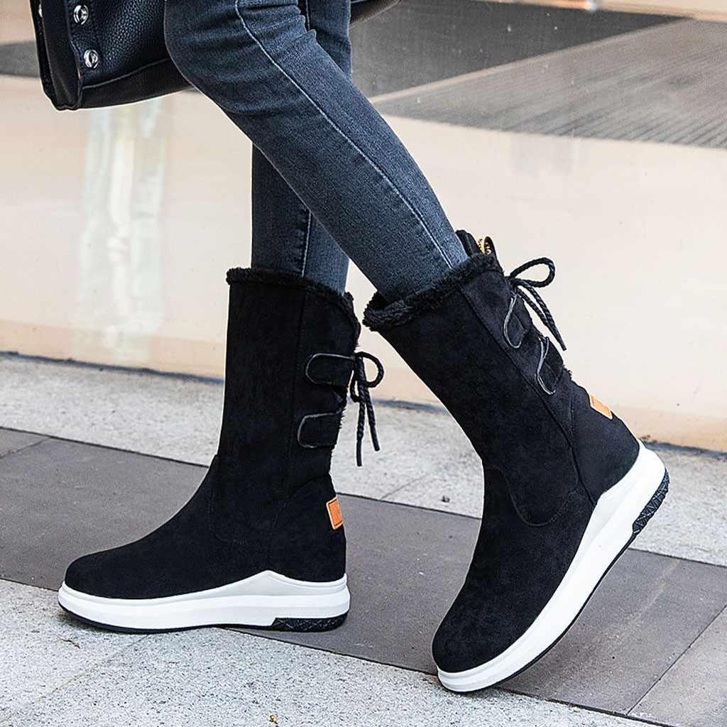 Женские Теплые ботильоны на платформе с пряжкой, ремешком и шнуровкой; повседневные зимние ботинки до середины икры с плюшевой стелькой; botas mujer