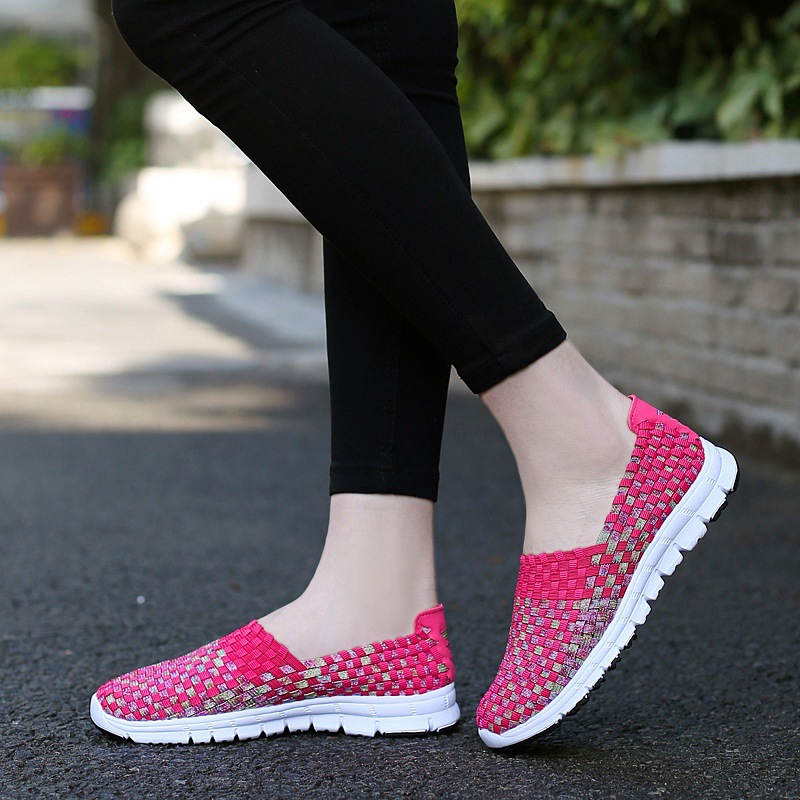 2020 New Woven Shoes 2020 Summer Breathable Handmade Flat Loafers Fashion Comfortable Women Flats Casual Sneakers