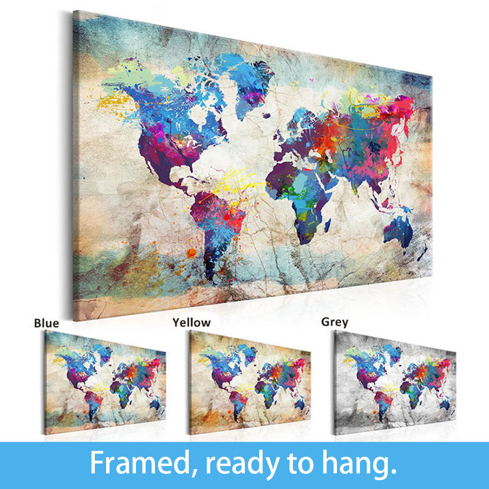 Framed Painting Modern Wall Art Canvas Poster World Map Colorful Decoration Picture Living Room Home Docor Printing Decar