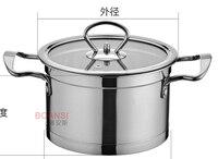 Pot à soupe binaural à angle droit de style coréen de pot à soupe d'acier inoxydable avec la soupe inférieure
