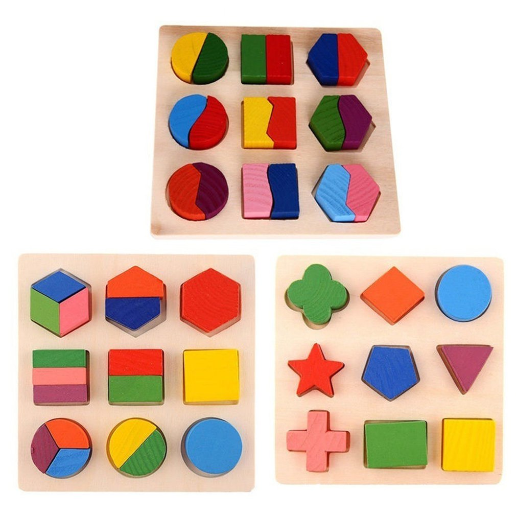 Kids Baby Wooden Geometry Block Puzzles Toys Kids Cognitive Intelligent Early Learning Educational Tool Toy For Children Gift