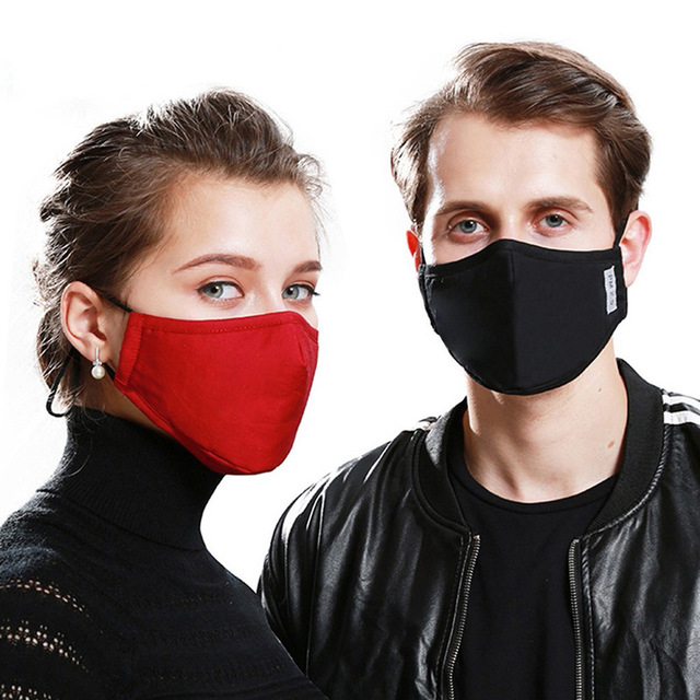 Cotton PM2.5 Black Dust Mask Anti-Pollution Mouth Mask Activated Carbon Filter Windbreaker Mouth-muffle Bacteria Flu-proof Masks