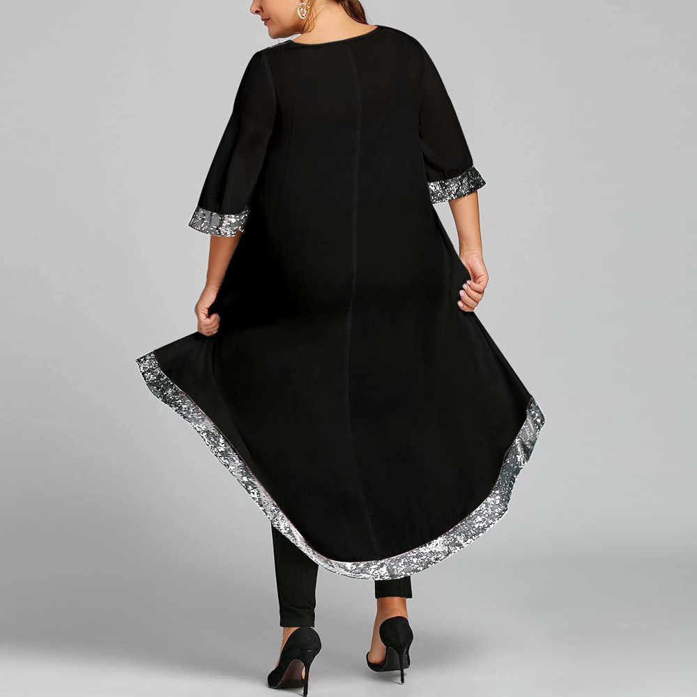 2019 donne Vestiti Da Estate Del Cotone casual Più Il Signore di Formato Del Vestito casual Tromba asymmetrica Vestito di Lustrini Trim Alto Basso Vestito Caldo