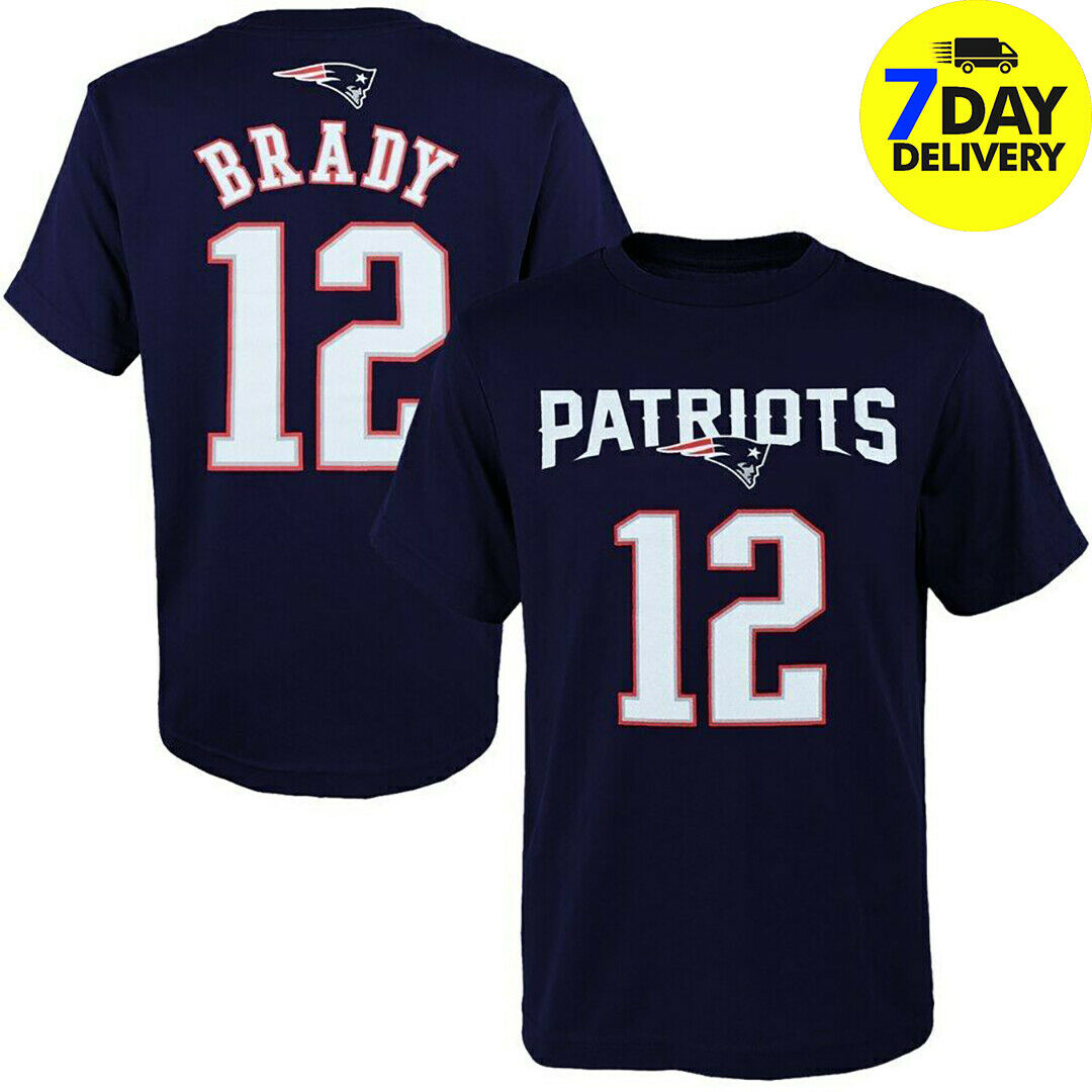Tom Brady Patriots Harajuku Streetwear Shirt Men Name Number Navy T Shirt Full Size