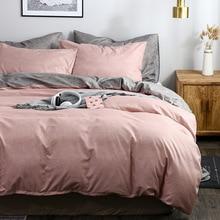 OLOEY Clássico jogo de cama cor Sólida tamanho da rainha do rei conjuntos capa de edredão colcha covers fronhas Europeus cinza azul verde rosa