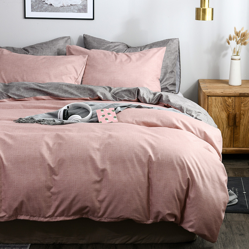 OLOEY Classic Bedding Set Solid Color Duvet Cover Sets Quilt Covers Pillowcases European Size King Queen Gray Blue Pink Green