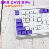 DSA Top Printed White Purple Keycaps Dye Sub Pbt Razer Gh60 Poker2 Xd64 87 104 Xd75 Xd96 Xd84 K70 Cherry Mechanical Keyboard