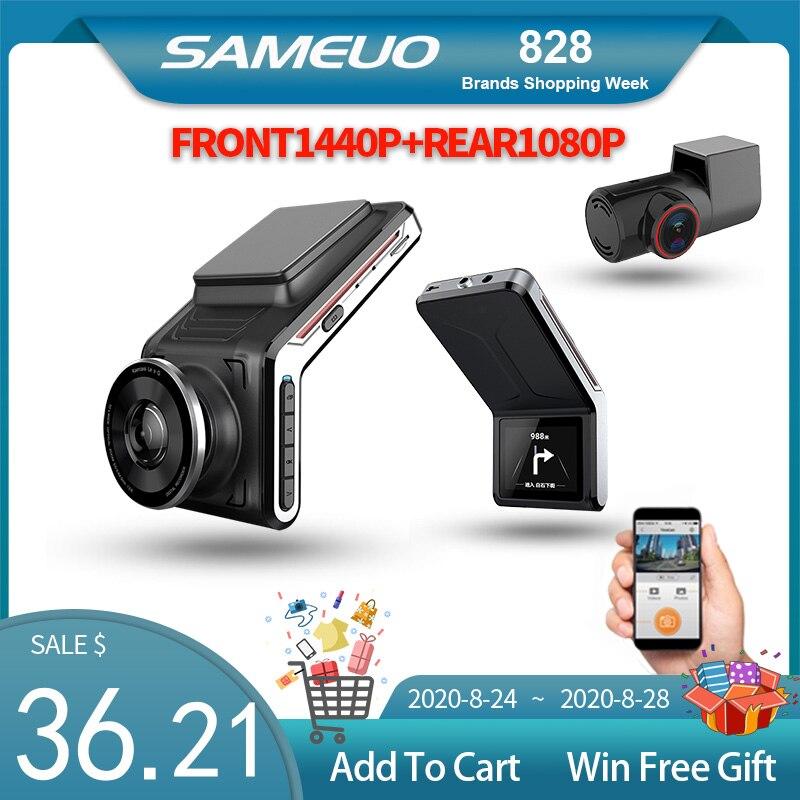 Sameoo U2000 WIFI kamera na deskę rozdzielczą 2k przód i tył 1080p 2 obiektyw aparatu wideorejestrator samochodowy inteligentny wideorejestrator samochodowy s Auto Night Vision 24H Monitor do parkowania